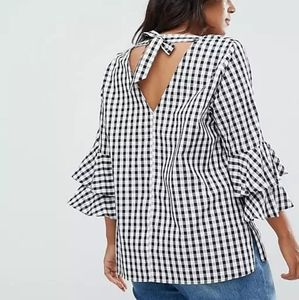 Gingham plus cotton blouse size 16 bell sleeves